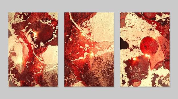 金红色和黑色背景,大理石纹理抽象向量集,酒精墨水流体艺术