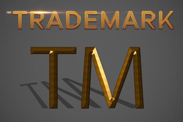 Иллюстрация зарегистрированной торговой марки золота на сером фоне