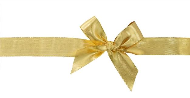 白い背景で隔離の弓とゴールドのリボン。クリッピングパスが含まれています。