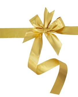 白い背景で隔離の弓と金のリボン