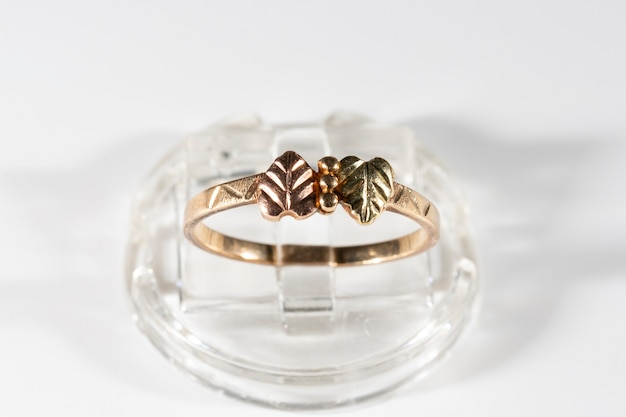Gold ring with two small leaves made of yellow, green and rose gold.