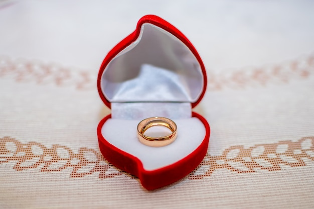 Gold rings are prepared for the wedding ceremony.