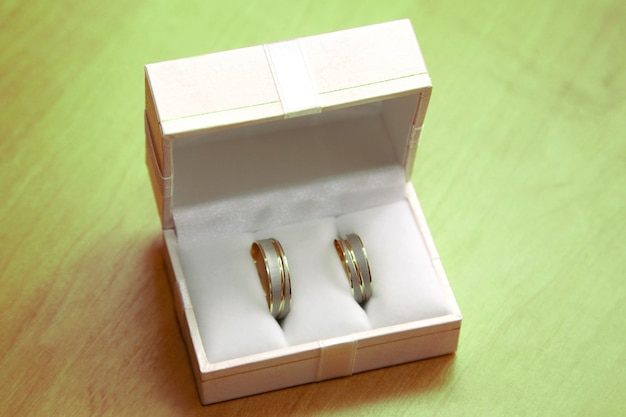 Gold rings for weddings are in the box.  happy holiday