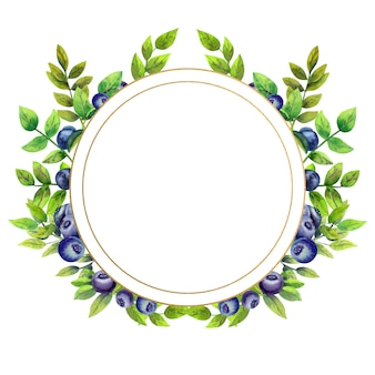 Gold round frame with watercolor flowers and blueberries