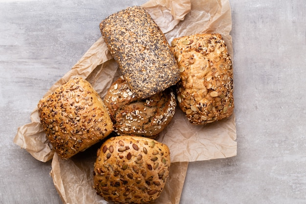 Gold rustic crusty loaves of bread and buns