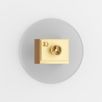 Gold safe icon. 3d rendering gray round key button, interface ui ux element.