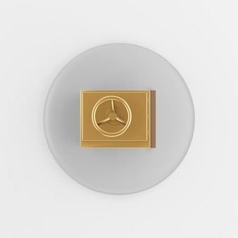 Gold safe icon. 3d rendering round gray key button, interface ui ux element.