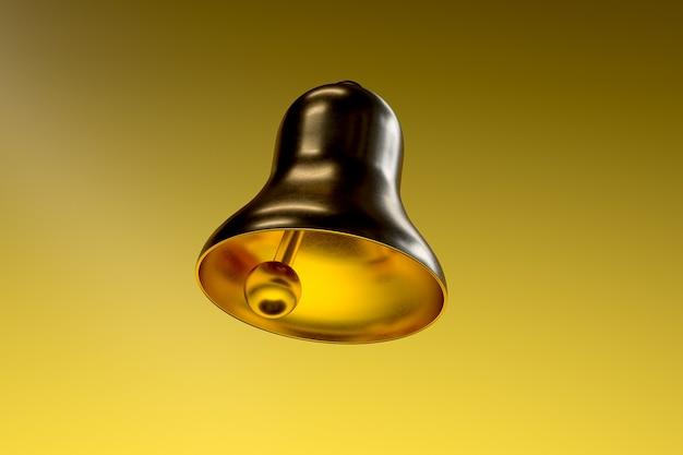 Золотой школьный колокол, изолированных на золотом фоне. 3d-рендеринг