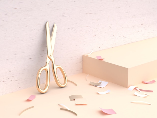 Gold scissors wall wood minimal 3d rendering