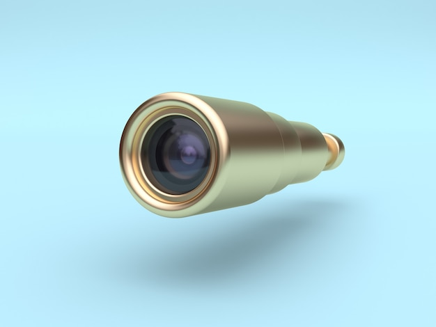 Gold scope-lens camera 3d rendering blue background