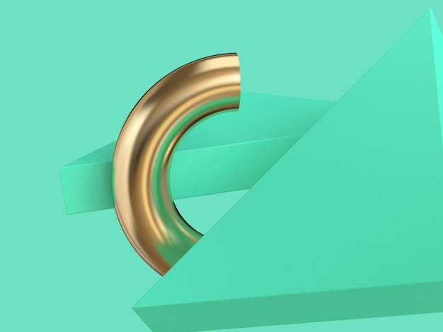 Gold semicircle green triangle abstract background 3d rendering