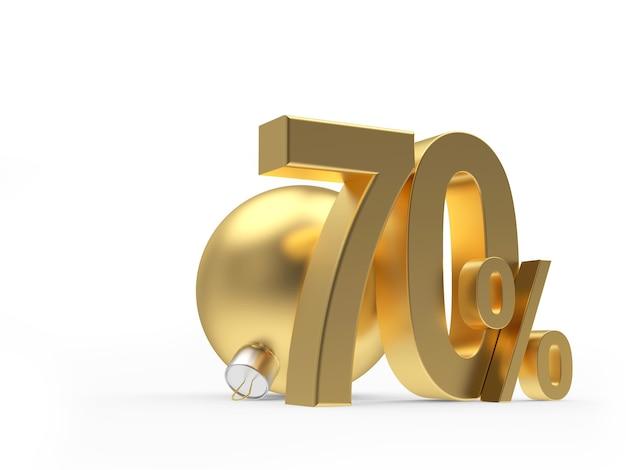 Золотая скидка в семьдесят процентов рядом с елочным шаром