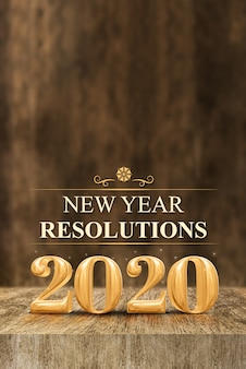 Gold shiny 2020 new year resolutions (3d rendering) at wooden block table and blur wood wall