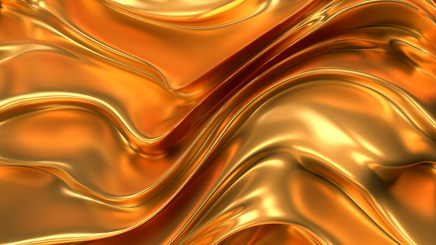 Gold silk or fabric with metallic golden reflexes 3d illustration rendering