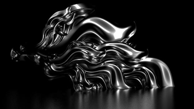 금속 반사 신경 배경 3d 일러스트 렌더링 골드 실크 또는 직물