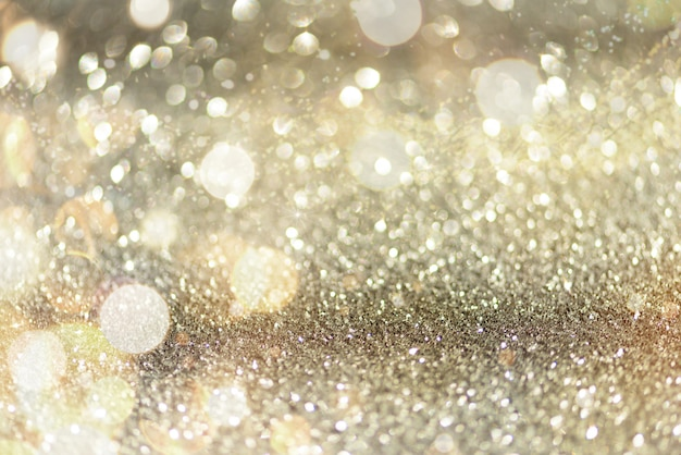 Gold and silver abstract bokeh lights.