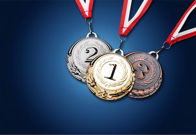 리본이 달린 금, 은, 동메달