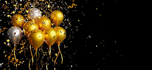 Gold and silver balloon with foil confetti falling on black background 3d render