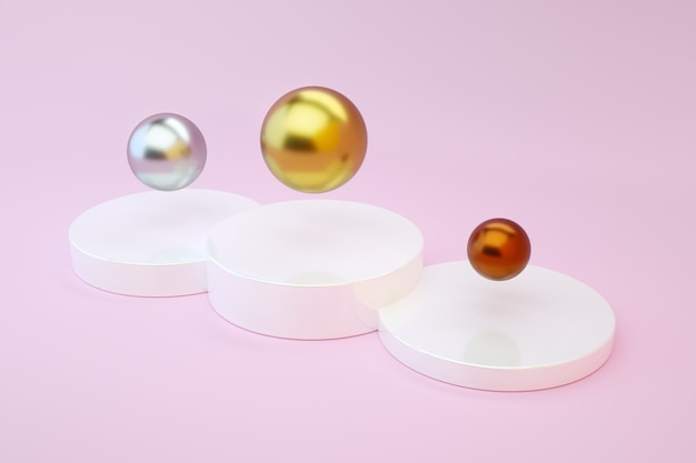 Gold, silver and bronze balls on a podium on a pink background. olympics and sport. 3d render