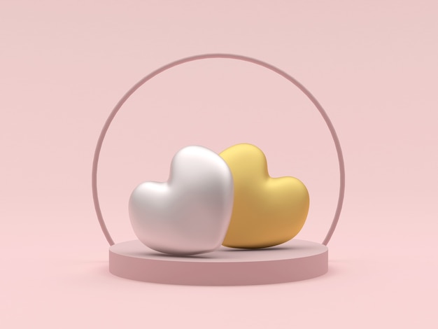 Gold and silver hearts on a round stand