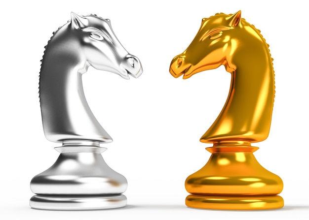 Gold and silver horse figure on a white background
