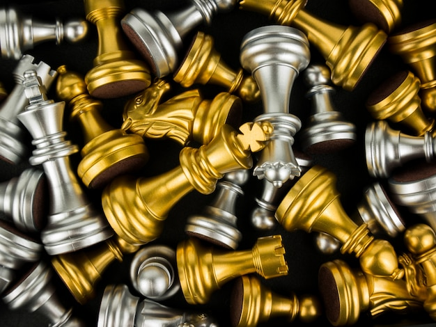 Gold and silver king and knight of chess piece background