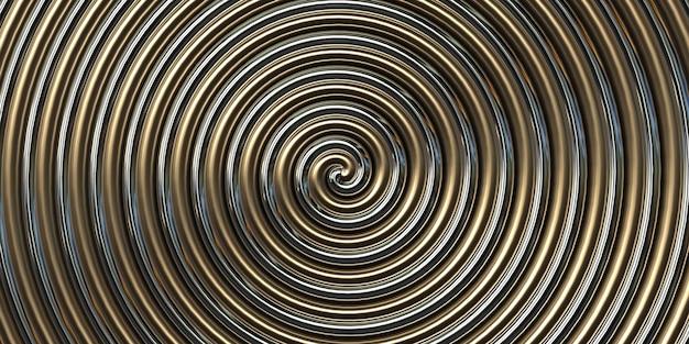 ゴールドシルバーラウンド抽象的なスパイラル背景3dイラスト