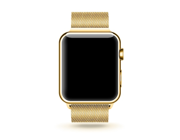 Gold smart watch blank screen mock up isolated.