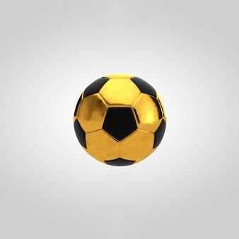 Gold soccer ball on white background.