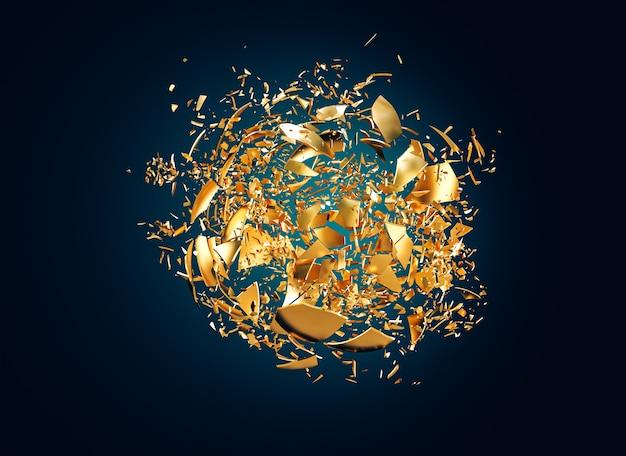 작은 파편으로 파괴되는 금 구체. 3d 렌더링