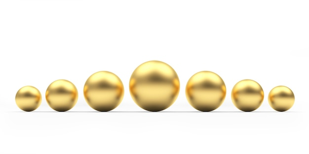 さまざまなサイズの金の球