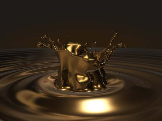 Gold splashing,ripples and waves.3d rendering