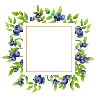 Gold square frame with watercolor blueberries