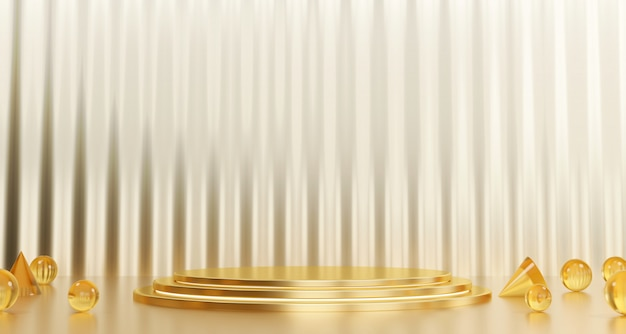 Gold  stand template for product advertising and commercial, 3d rendering.