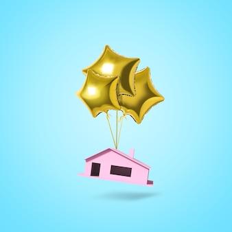 Золотой звездный шар с розовым домом на синем фоне.