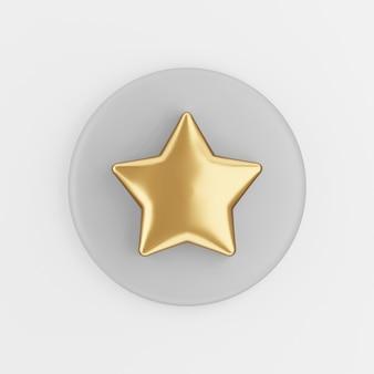 Золотая звезда значок в мультяшном стиле. 3d-рендеринг серой круглой ключевой кнопки, элемента интерфейса ui ux.