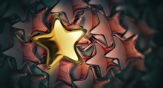 Золотая звезда против многих красных звезд. концепция лидерства d уникальность концепции дизайна
