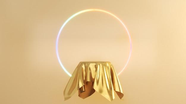 Золотая скатерть с золотой задней стенкой неоновым светом, подставка для макета для презентации продукта, 3d-рендеринг