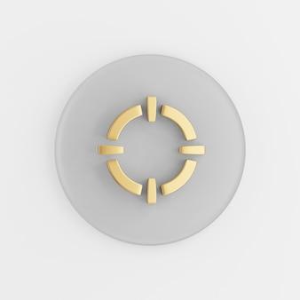 Золотой значок цели. 3d-рендеринг круглой серой ключевой кнопки, элемента ui интерфейса ux.