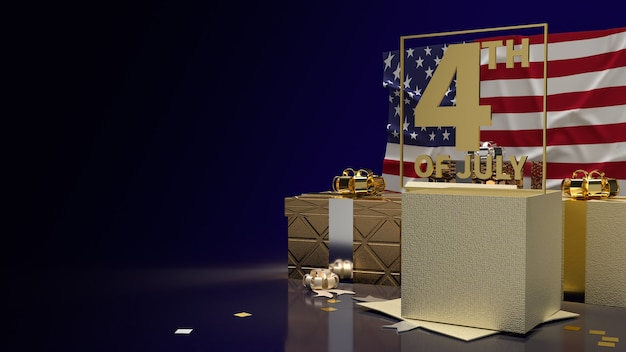 The gold text 4th of july on america flag and gift box  for holiday content 3d rendering