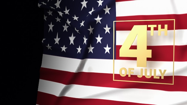 The gold text 4th of july on america flag for holiday content 3d rendering
