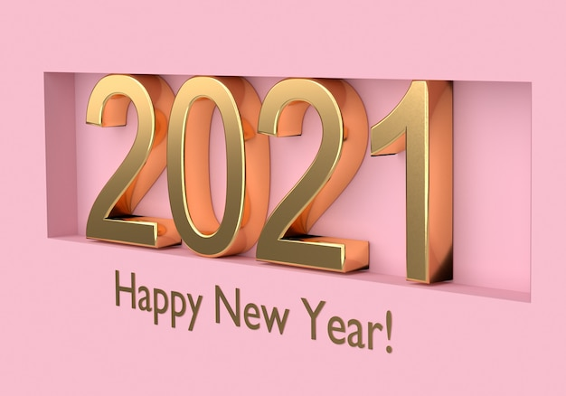 Gold text happy new year with number 2021.