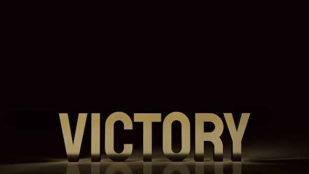 Gold text victory on black. 3d rendering.