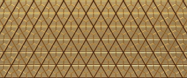 Gold tiled triangular geometric texture background. extruded triangles surface. 3d render.