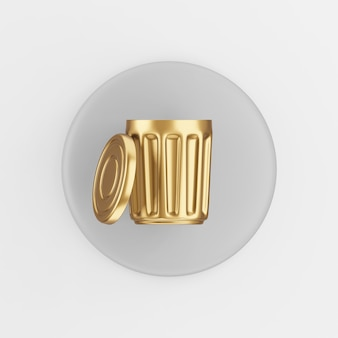 Gold trash can icon with lid. 3d rendering round gray key button, interface ui ux element.