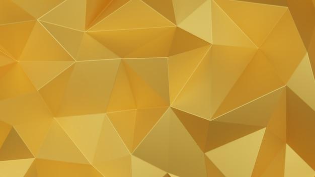 金の三角形の低ポリゴン。黄金の幾何学的な三角形の多角形の背景。 3dレンダリングのイラスト。