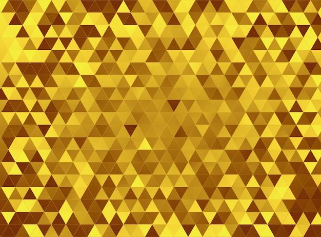 金の三角形のモザイクの背景