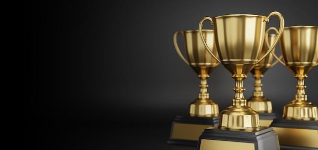 Gold trophy award on dark background.