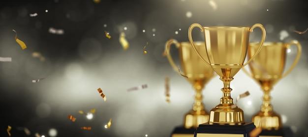 Премия золотой трофей на темном фоне.