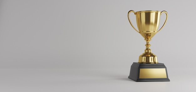 Gold trophy award with copy space.